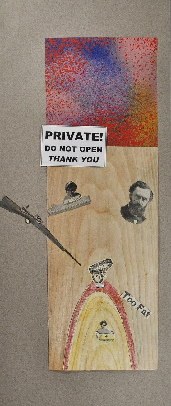 [b]Private. Do not open[/b] (2013). Ink, pencil,  collage, & found object. 22.5 x 33.5 inches framed.