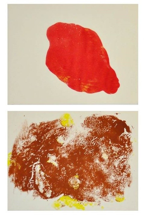 [b]Red Blot [/b]diptych	(2013). Lino press, tempera. 33 x 23 inches framed